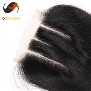 2016 New Product - 3 Way Part Lace Closure 100% Brazilian Human Virgin Hair Extensions Body Wave Natural Color Wholesale DHL Free Shipping [BHV073]