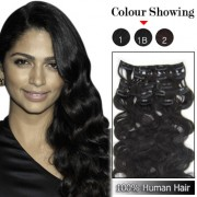 Wholesale-20 Inches 9pcs 105g Clips-on 100% Brazilian Human Hair Extensions Wavy #1B_Natural Black (18 kinds of colors can be choose) [CHE029]