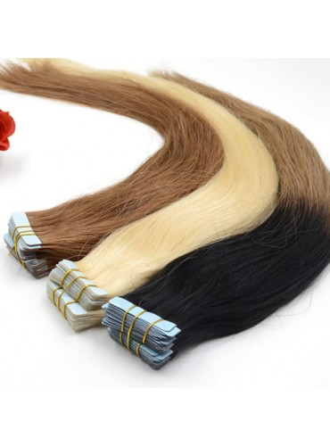 Ombre Skin Weft Tape In Hair Extensions 100% Indian Remy Human Hair 40pcs 100g [SWTO007]