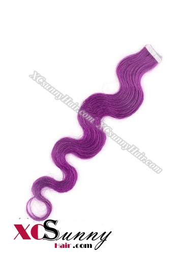 16 Inch - 26 Inch Body Wave #Purple 100% Indian Remy Human Hair Skin Weft Tape In Hair Extensions 20pcs 50g [SWTW5025]