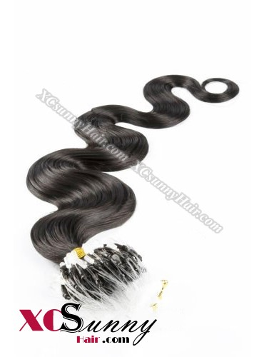 14 Inch - 26 Inch Body Wave #1B OFF Black Micro Loop Ring Human Hair Extensions 0.5g*50s  [MLRB55002]
