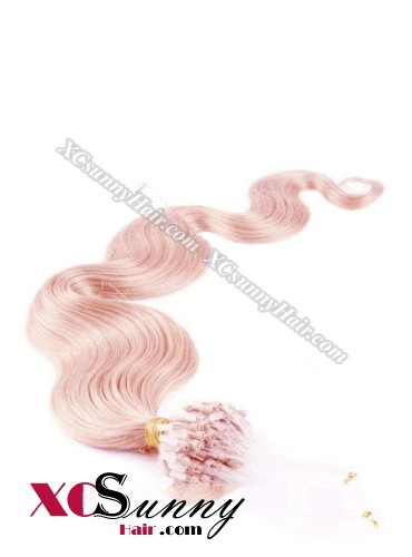 14 Inch - 26 Inch Body Wave #Pink Micro Loop Ring Human Hair Extensions 0.5g*50s  [MLRB55024]