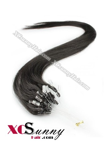 14 Inch - 26 Inch Silk Straight #1B OFF Black Micro Loop Ring Human Hair Extensions 0.8g*50s  [MLRS85002]