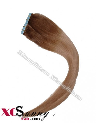 16 Inch - 26 Inch Silky Straight  Ombre #T6/27 100% Indian Remy Human Hair Skin Weft Tape In Hair Extensions 40pcs 100g [SWTO004]