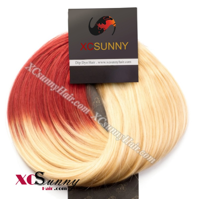 Wholesale 15 Inch 24 Inch T613red Dip Dye Hair 9pcs Full Head Set