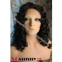 14 Inch Deep Wave #1B  Glueless Full Lace Wigs 100% Indian Remy Human Hair [GFH037]