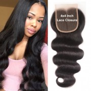 XCsunnyHair Body Wave Hair 4x4 Closure Medium Brown Swiss Lace Three part Middle Part and Free Part [LCT4002]