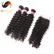 Malaysian 8A - 1PC Closure with 2PC Hair Weave 100%  Virgin Remy Human Hair Wholesale 100g/pcs [MHV010]