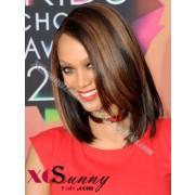 10 Inch #1B/30 Full Lace Wigs Tyra Short Hairstyle 100% Indian Remy Human Hair Custom [CFL008]