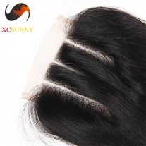 XCsunnyHair Silky Straight Hair Closure Three part Middle Part and Free Part [BHV073]