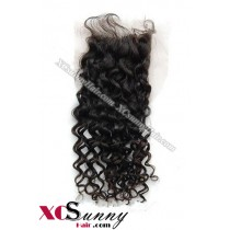 Indian 8A Deep Wave Lace Closure Silk Base 8-20 inch 100% Virgin Remy Human Hair Wholesale 100g/pcs [ILC003]