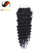 Peruvian 8A Deep Wave Lace Closure Silk Base 8-20 inch 100% Virgin Remy Human Hair Wholesale 100g/pcs [PLC001]