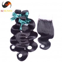 Brazilian 5A 1PC Closure with 3PC Hair Weave 100%  Virgin Remy Human Hair  Wholesale  100g/pcs [BHV071]