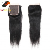 Brazilian 5A Straight Pre Plucked Lace Closure Silk Base 8-20 inch 100%  Virgin Remy Human Hair Wholesale 100g/pcs [BHV068]