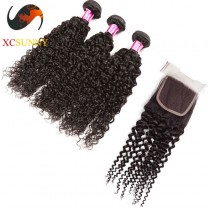 Peruvian 8A -1PC Closure with 3PC Hair Weave  100%  Virgin Remy Human Hair  Wholesale 100g/pcs [PHV061]