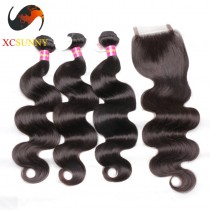 Malaysian 8A -1PC Closure with 3PC Hair Weave  100%  Virgin Remy Human Hair  Wholesale 100g/pcs [MHV011]