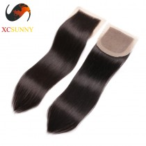 Malaysian 8A Straight Lace Closure Silk Base- 8-20 inch 100%  Virgin Remy Human Hair  Wholesale 100g/pcs [MHV007]