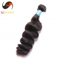 Wholesale-12-26 Inch 5A Deluxe Loose Wave 100% Peruvian Virgin Hair Weave Remy Human Hair Weft 100g/pcs [PHV040]