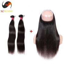 Pre Plucked 360 Lace Frontal Closure with 2 Bundle Brazilian Virgin Hair Weave Silky Straight 22x4x2 with Baby Hair [LFC035]