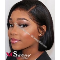 10 Inch Straight Natural Black Bob Virgin Brazilian 13X6 Glueless Lace Front Human Hair Wigs 150% Density Pre Plucked Natural Hairline With Baby Hair [BVG029]