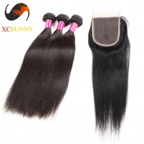 Peruvian 8A - 1PC Closure with 2PC Hair Weave 100%  Virgin Remy Human Hair Wholesale 100g/pcs [PHV062]
