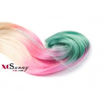 Wholesale-12-26 Inch #613/Pink/Light Green Ombre Dip Dye 100% Brazilian Remy Human Hair Weave Weft 100g/pcs [DDW012]