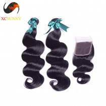 Brazilian 5A 1PC Closure with 2PC Hair Weave 100%  Virgin Remy Human Hair  Wholesale 100g/pcs [BHV072]