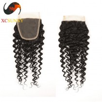 Brazilian 5A Deep Wave Pre Plucked Lace Closure Silk Base 8-20 inch  100% Virgin Remy Human Hair  Wholesale 100g/pcs [BHV070]
