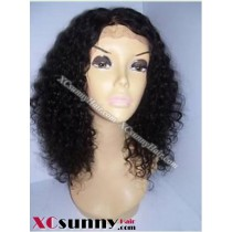 16 inch Curly  #1B Lace Front Wigs 100% Indian Remy Human Hair [LFH181]