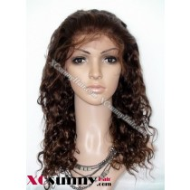 16 Inch Curly #4 Glueless Full Lace  Wigs 100% Indian Remy Human Hair [GFH059]