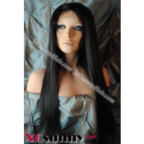 20 Inch Yaki Straight #1B Glueless Lace Front Wigs 100% Indian Remy Human Hair [GLH109]