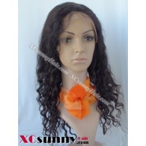 16 Inch Deep Wave #1B Full Lace Wigs 100% Indian Remy Human Hair [FLH260]