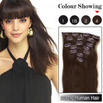 Wholesale-24 Inches 9pcs 120g Clips-on 100% Brazilian Human Hair Extensions #4_Medium Brown (18 kinds of colors can be choose) [CHE042]