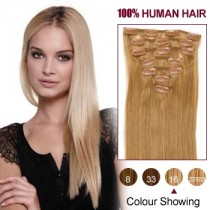 Wholesale-24 Inches 9pcs 120g Clips-on 100% Brazilian Human Hair Extensions #16_Golden Blonde (18 kinds of colors can be choose) [CHE043]