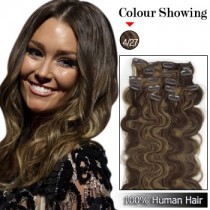 Wholesale-24 Inches 9pcs 120g Clips-on 100% Brazilian Human Hair Extensions Wavy #4/27 (18 kinds of colors can be choose) [CHE046]