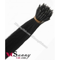Wholesale-18 Inch - 22 Inch  #1 Jet Black Straight Nano Ring Hair Extensions 100% Indian Remy Human Hair Extension 100g/pack, 1g/s [NRE001]