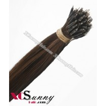 Wholesale-18 Inch - 22 Inch  #6 Chestnut Brown Straight Nano Ring Hair Extensions 100% Indian Remy Human Hair Extension 100g/pack, 1g/s [NRE005]