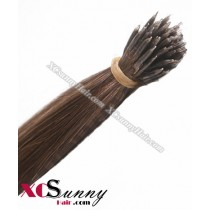 Wholesale-18 Inch - 22 Inch  #10 Ash Brown Straight Nano Ring Hair Extensions 100% Indian Remy Human Hair Extension 100g/pack, 1g/s [NRE006]
