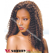 18 Inch Water Wave  #1B Glueless Full Lace  Wigs 100% Indian Remy Human Hair [GFH042]