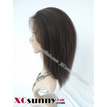 8 Inch Yaki Straight #2 Glueless Full Lace Wigs 100% Indian Remy Human Hair [GFH094]