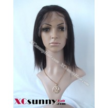 8 inch Yaki Straight #1B Lace Front Wigs 100% Indian Remy Human Hair [LFH200]