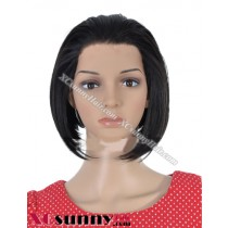 8 inch Silky Straight #1B Lace Front Wigs 100% Indian Remy Human Hair [LFH192]