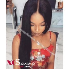 18 Inch Silky Straight Natural Black Bob Virgin Brazilian 13X6 Glueless Lace Front Human Hair Wigs 150% Density Pre Plucked Natural Hairline With Baby Hair [BVG015]
