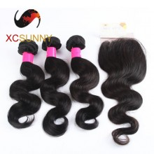 75% OFF Brazilian 4A 1PC Closure with 3PC Hair Weave 100%  Virgin Remy Human Hair  Wholesale  100g/pcs [BHV117]