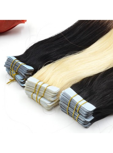 Ombre Skin Weft Tape In Hair Extensions 100% Indian Remy Human Hair 40pcs 100g [SWTO008]