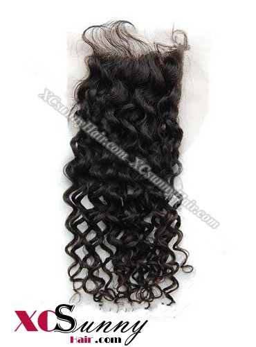 Indian 7A Deep Wave Lace Closure Silk Base 8-20 inch 100% Virgin Remy Human Hair Wholesale 100g/pcs [ILC003]