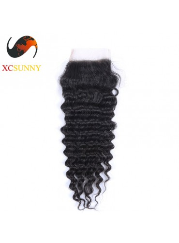 Peruvian 5A Deep Wave Lace Closure Silk Base 8-20 inch 100% Virgin Remy Human Hair Wholesale 100g/pcs [PLC001]