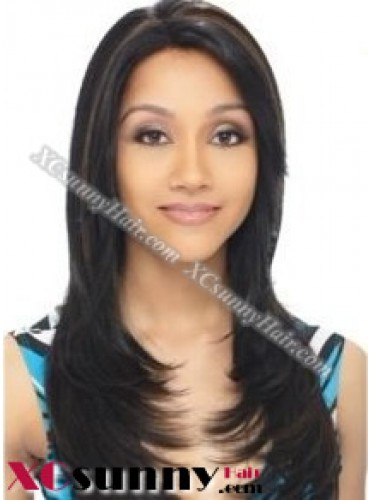 16 inch Silky Straight #1B Lace Front Wigs 100% Indian Remy Human Hair [LFH226]