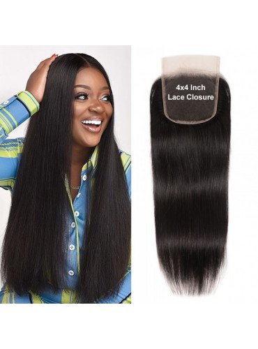 XCsunnyHair Straight Hair 4x4 Closure Medium Brown Swiss Lace Three part Middle Part and Free Part [LCT4001]