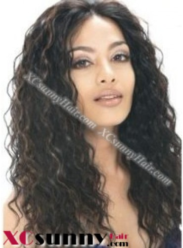 16 inch Deep Wave #1B Lace Front Wigs 100% Indian Remy Human Hair [LFH239]
